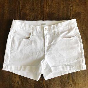 Old Navy • Mid-Rise White Denim Shorts. Size 6.